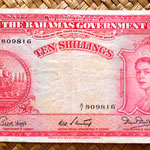 Bahamas 10 shillings 1953 anverso