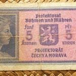 Bohemia y Moravia 5 coronas 1940 reverso