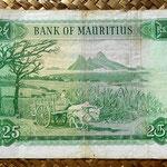Isla Mauricio 25 rupias 1967 pk.32b reverso