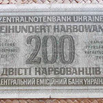 Ucrania ocupación alemana WWII 200 karbovanets 1942 reverso