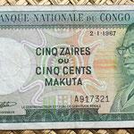 Congo 500 makutas 1967 anverso