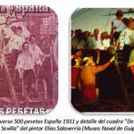 España 500 pesetas 1931 grabado del reverso -Desembarco de Elcano en Sevilla 1522
