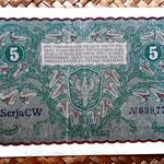 Polonia 5 marek 1919 pk.24 reverso