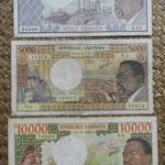 Gabón serie Francos años '70 Presidente O. Bongo anversos