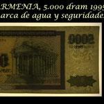 Armenia 5.000 dram 1995 (145x70mm) pk.40 marcas de agua