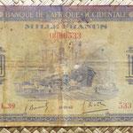 Africa Occidental Francesa 1.000 francos 1942 (155x88mm) pk.32a anverso