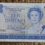 Nueva Zelanda 10  dollars 1989-92 (155x78mm) pk.172c anverso
