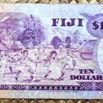 Islas Fiji 10 dollars 1980 (156x67mm) pk.79a reverso