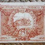 Mónaco, 25 céntimos 1920 (70x50mm) pk.1a reverso