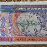 Myanmar 100 kyats 1994 (146x70mm) pk.74b reverso
