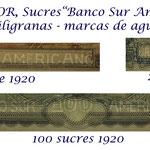 Ecuador serie Sucres 1920 Banco Sur Americano filigranas