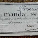 Francia Promesa de Mandato Territorial 25 francos 1796 (WPM pk. A83b) 260x110mm anverso