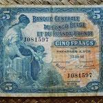 Congo belga Ruanda y Urundi 5 francos 1953 (100x80mm) pk.21 anverso
