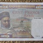 Argelia 100 francoas 1940 (155x92mm) pk.85 anverso