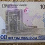 Uzbekistan 100.000 sum 2019 (144x78mm) pk.86 reverso