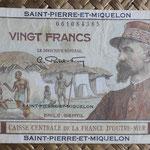 San Pedro y Miguelón 20 francos 1950-1960 (136x75mm) pk.24 anverso