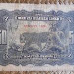 Congo Belga 50 francos 1951 (148x94mm) pk.16i reverso