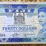 Islas Fiji 20 dollars 1980 (156x67mm) pk.80a anverso