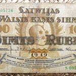 Letonia 100 rublos 1919 anverso
