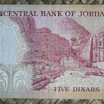 Jordania 5 dinars 1975-92 (152x76mm) pk.19d reverso