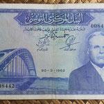 Tunez 5 dinares 1962 (162x97mm) pk.61 anverso