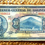 Bolivia 10 bolivianos 1928 (150x74mm) anverso