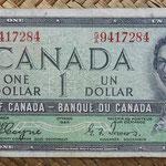 Canada 1 dollar 1954 -Devil's Hair- (152x70mm) pk.66a anverso