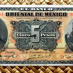 México, 5 pesos 1910, Banco Oriental -Puebla (184x80mm) anverso