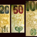 Chequia serie decada '90 marcas de agua 20-50-100 korun