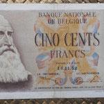 Belgica 500 francos 1952 (150x80mm) pk.130 anverso