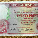 Escocia 20 pounds sterling -National Bank of Scotland Limited 1957 (176x100mm) anverso