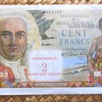 San Pedro y Miguelón 100 francos 1963 resellado 2 NF anverso