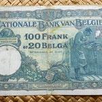 Bélgica 100 francos-20 belgas 1932 reverso