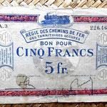 Francia 5 francos 1923 -Régie des Chemins de Fer des Territoires Occupés- anverso