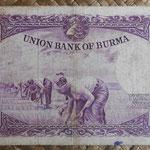 Birmania 20 kyats 1958 pk 49a reverso