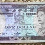 Islas Fiji 1 dollar 1980 (156x67mm) pk.76a anverso
