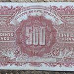 Francia 500 francos 1945 (138x78mm) pk.106 reverso