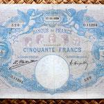 Francia 50 francos Bleu et Rose 1924 anverso
