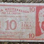 Grecia ocup. italiana WWII 10 dracmas 1941 (110x55mm) pk.M2 anverso