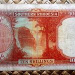 Rodesia del Sur 10 shillings 1939 reverso