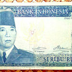Indonesia 1000 rupias 1960 (170x85mm) pk.88b anverso