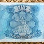 Gran Bretaña 5 pounds 1970 reverso