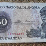 Angola 50 kwanzas 1976 (140x65mm) pk.110a anverso