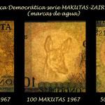 Congo Rep. Democr. serie Zaires-Makutas 1967 marcas de agua