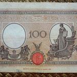 Italia 100 liras 1934 pk.50c reverso