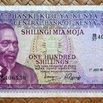 Kenia 100 shilingis 1976 (150x79mm) anverso