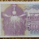 Yugoslavia 5.000.000 dinares1993 pk.121 reverso