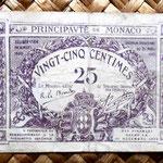 Monaco 25 ctmos. de franco 1920 (75x50mm) anverso