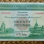 Escocia 20 pounds sterling -Clydesdale and North of Scotland Bank Limited 1960  (198x96mm) anverso