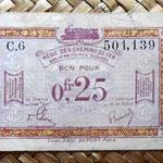 Francia 0.25 francos 1923 -Régie des Chemins de Fer des Territoires Occupés- anverso